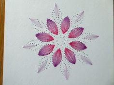 Blütenmandala mit Fadengrafik - DIY-Family Paper Embroidery Tutorial, Embroidery Cards, Embroidery Patterns, Hand Embroidery, Sewing Cards, String Art Patterns, Thread Art, Card Patterns, Cross Stitch Flowers