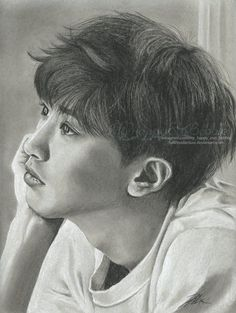 9x12in Charcoal and Graphite on Mixed Media Paper  sittin back and enjoying this one... This piece didn't frustrate me in the slightest. Yay Chanyeol, thank you for not being stubborn!