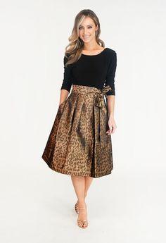 Jessica Howard Black & Bronze Leopard Print Dress | Pamela Scott Cocktail Dresses, Dresses Online, Midi Skirt, Bronze, Skirts, Shopping, Black, Fashion, Moda