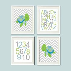 Baby Boy Nautical Turtle Chevron Ocean Sea Animal Alphabet Numbers Set of 4 Prints Boy Nursery Crib Bedding Bathoom Wall Art Decor Picture on Etsy, $37.00