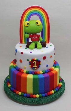 Sapo Pepe Cake by Violeta Glace! 1st Bday Cake, Birthday Cakes For Teens, Frog Cakes, Cupcake Cakes, Gorgeous Cakes, Amazing Cakes, Cake Pops, Fondant Rainbow, School Cake