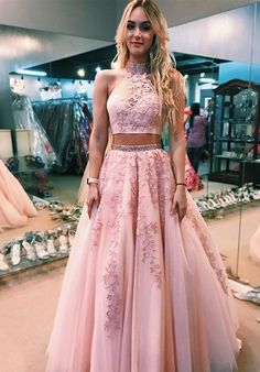 Pink Two Pieces 2019 Evening Dresses Formal Gowns High Neck Lace Keyhole Back A line Tulle Applique Sequin Prom Pageant Dress Cheap Long Quinceanera Dresses, Pink Prom Dresses, Cheap Prom Dresses, Prom Party Dresses, Ball Dresses, Ball Gowns, Bridesmaid Dresses, Pastel Prom Dress, Chiffon Dresses