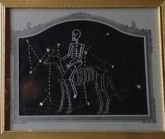 Sirius the Dogstar by artist Mavis Leahy. Hand embroidery on vintage linen - SOLD