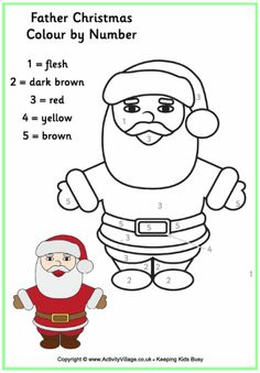 Colour by numbers Father Christmas