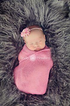 RI Linda Hawkins Photography Newborn girl in pink Wrap