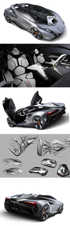 Lamborghini Perdigon - Great supercar design sketches & 3D