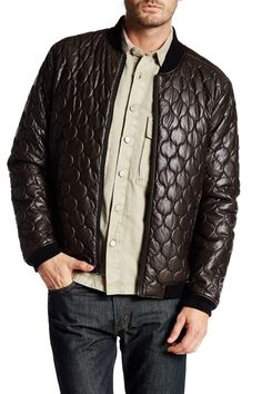 Faux Leather Onion-Pattern Quilted Bomber Jacket