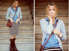 Love the denim shirt + sweater look. I have been LOVING light denim shirts lately. Can't get enough.