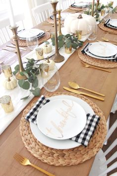 A Gold and Pumpkin filled Thanksgiving Tablescape