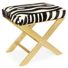 Peter Brass Hide X-Bench, Zebra