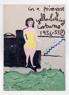 Yellow Bathing Costume, Steps by Rose Wylie Figure Painting, Painting & Drawing, Rose Wylie, Bathing Costumes, Colorful Abstract Art, Royal College Of Art, A Level Art, Science Fiction Art, Outsider Art