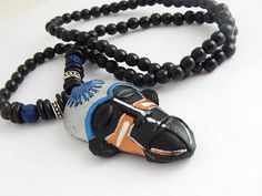 African Mask Necklace Hand Painted Polymer Clay Silver Black Blue Beaded Jewelry by TheBlackerTheBerry