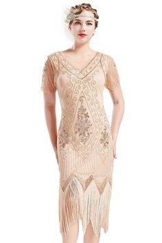 de6f7318a396 ArtiDeco 1920s Kleid Damen Flapper Kleid mit Kurzem Ärmel Gatsby Motto –  Aladdin Swiss Global Trading
