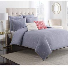 Cupcakes and Cashmere Chambray Dot Duvet Cover