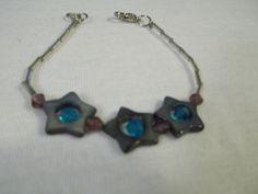 Three Lucky Stars Bracelet by BackyardBeader on Etsy, $15.00