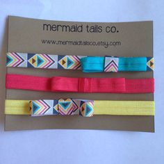 The Aztec Collection  Set of 3 Infant Elastic Headbands with Bow on Etsy, $12.00