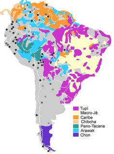 Map of South American native language families. Legend: colors for extensive families (more than 5 languages), dark grey for small families, black for isolates, clear grey for doubful/unclassified languages.