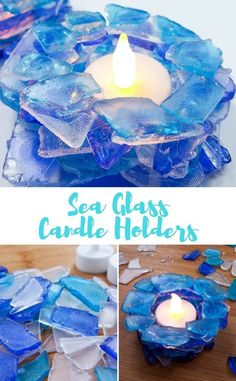 Super Easy DIY Tea Light Candle Holders Made with Sea Glass