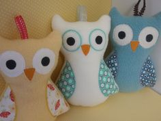owl pillow ~use fleece for body ~add ribbon tags for baby