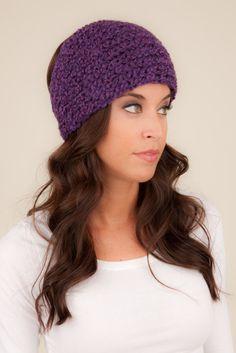 Wool Headband Purple knit headband winter headband by Volang