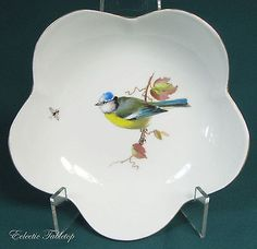 Vintage-Meissen-Hand-Painted-Bowl-Bird-on-Branch-with-Insect-5-3-4