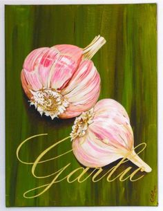 Garlic, original acrylic painting can be on reclaimed rustic solid wood board