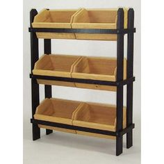 Wood Display Racks with Six Crates