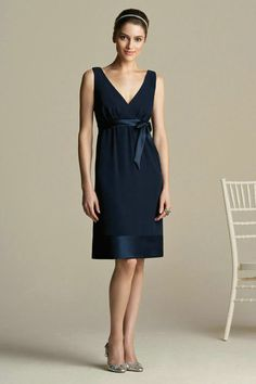 navy bridesmaid dresses | ... Chiffon Satin Cheap Navy Bridesmaid Dress Short With Ribbon On Sale