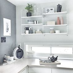 String shelves in kitchen by Monique Therese via http://instagram.com/moniithe/