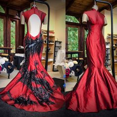 An exceptional creation painted by hand on Silk Dupione Couture, Backless, Victorian, Silk, Formal Dresses, Fashion, Dresses For Formal, Moda, Formal Gowns