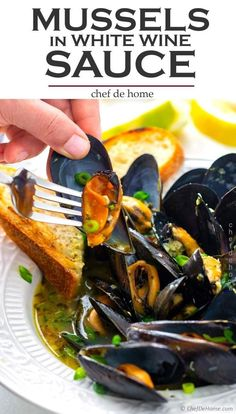 Learn to cook Mussels served just like in restaurants with delicious Garlic White Wine Sauce. This is recipe with complete guide to selecting, cleaning mussels and cooking in Instant Pot in a flavorful White Wine Sauce. Sauce Recipes, Fish Recipes, Seafood Recipes, Cooking Recipes, Healthy Recipes, Cooking Fish, Cooking Games, Mussel Recipes, Cooking Classes