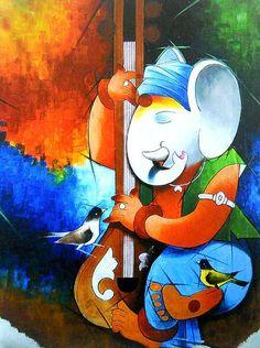 Lord Ganesha Playing Sitar - Hindu Posters (Reprint On Card Paper - Unframed) Ganesha Drawing, Lord Ganesha Paintings, Ganesha Art, Krishna Painting, Shri Ganesh, Baby Ganesha, Shiva Art, Krishna Art, Hindu Art