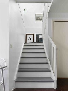 Grey and white stairs. grey/white staircase walls and halls home in 2019 wh Wood Stair Treads, Wood Stairs, House Stairs, White Staircase, Staircase Design, Staircase Walls, Hallway Inspiration, Painted Stairs, Interior Stairs