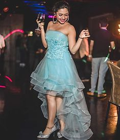 Reem wore a beautiful powder blue coloured strapless high low tiered dress, along with diamond studded hoop earrings and metallic silver pumps. We think a dress like this would be apt for cocktail parties or prom nights at your college Dresses For Teens, Blue Dresses, Teen Celebrities, Celebs, Child Actresses, Girl Hijab, Girl Photography Poses, Beauty Full Girl, Indian Beauty Saree