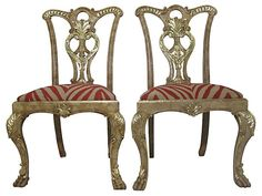 One Kings Lane - VMF - Furniture - Hand-Carved Roman Side Chairs, Pair