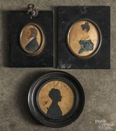 Two watercolor on paper miniature portraits, 19th c., 3'' dia. and 2 1/4'' dia. | Bidsquare