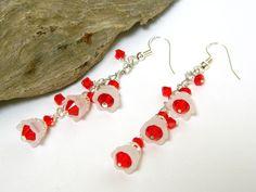 Red Earrings for Women, Crystal Earrings, Swarovski Crystal Jewelry, Christmas Earrings, White Earrings, Handcrafted Jewelry, Gift for Her