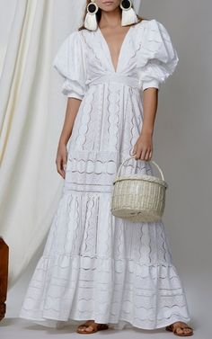 V Neck Puff Sleeve Fitted White Maxi Dress Nevan/Fits S - XL frames (available in white) . Cute Maxi Dress, White Maxi Dresses, Maxi Dress With Sleeves, V Neck Dress, White Dress, Short Sleeve Dresses, Summer Dresses, White Lace, Lace Dresses