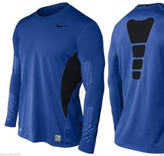 MEN'S MEDIUM NIKE PRO COMBAT HYPERCOOL  FOOTBALL COMPRESSION SHIRT DRI-FIT BLUE