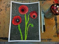 "#elementary art lessons.  Poppy Mixed Media art lesson  found at ""That Artist Woman"" Blog"