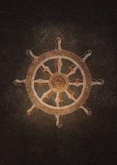 Dharma Wheel Buddhism Wheel of Law Art Print Giclee by RNDMS