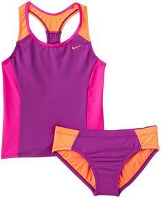 Girls 7-14 Nike 2-pc. Colorblock Tankini Swimsuit Set