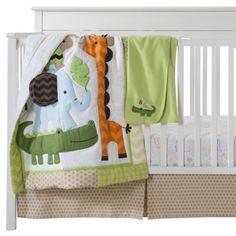 Good for a green or orange room. Circo® Safari Babies 4pc Crib Bedding Set. Also like with white crib