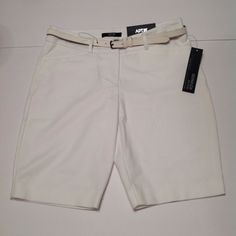 NWT Apt. 9 Size 4 Modern Fit Belted Mid Rise White Stretch Bermuda Dress Shorts #Apt9 #Bermuda