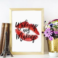 MAKEUP ART Makeup Sign,Rose Lips,Makeup Art,Fashion Print,Wake Up And Makeup,Bathroom Wall Art,Fashionista,Wall Art,Makeup Quote,Printable