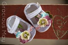 Shabby Chic and Pink Mary Jane | Pink and Grey Baby Shoes