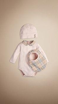 Check Collar Bodysuit Baby Gift Set | Burberry
