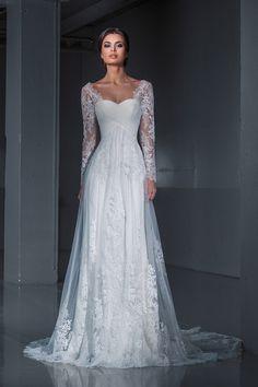 14627 в Красноярске, Платье в пол, Свадебное платье с рукавом, Свадебное платье с закрытым верхом, Пышное свадебное платье