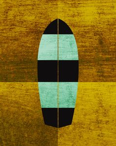 Canary/Mint Surfboard Art Print