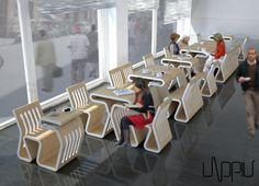 UNOPIU', la sedia-tavolo componibile